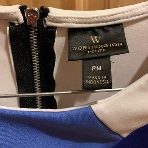 Worthington Petite Blue, Black, and White Blouse